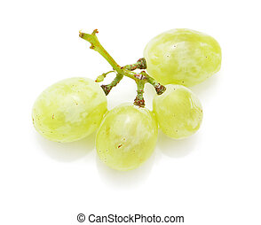 blanc, arrière-plan vert, raisins