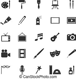 blanc, art, fond, icônes