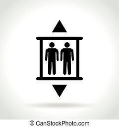 blanc, ascenseur, fond, icône