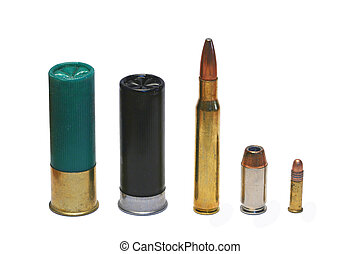 blanc, assorti, munitions, isolé