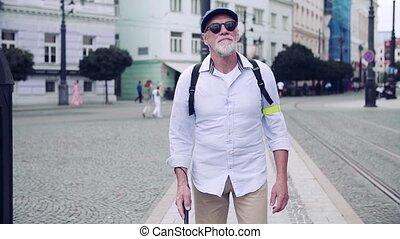 blanc, aveugle, marche, trottoir, city., canne, personne...