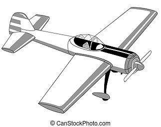 blanc, avion, dessin, fond