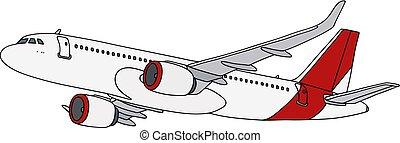 blanc, avion ligne, jet