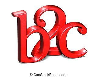 blanc, b2c, arrière-plan rouge, 3d