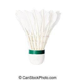 blanc, badminton, volant, isolé, fond