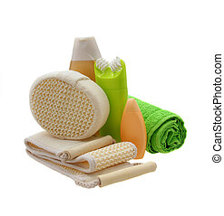blanc, bain, isolé, accessoire