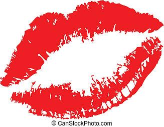 blanc, baiser rouge lèvres