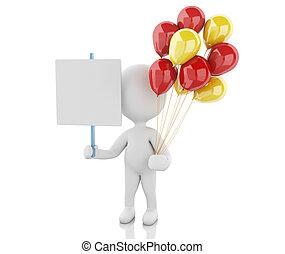 blanc, balloons., 3d, gens