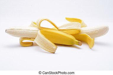 blanc, bananes, fond, isolé