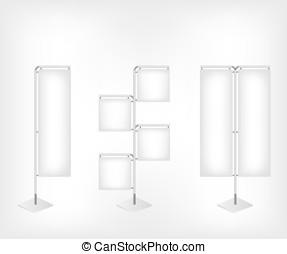 blanc, bannière, drapeau, vide