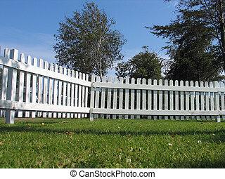 blanc, barrière bois