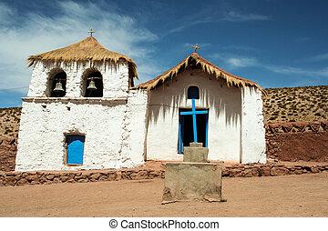 blanc bleu, mexicain, église