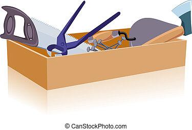 blanc, boîte outils, isolé, fond