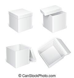 blanc, boîtes, cadeau