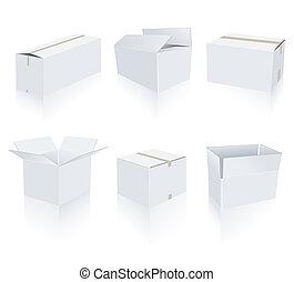 blanc, boîtes