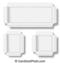 blanc, boîtes, ouvert