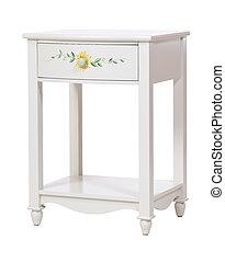 blanc, bois, isolé, nightstand