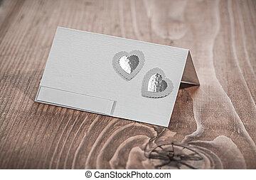 blanc, bois, vieux, carte, invitation