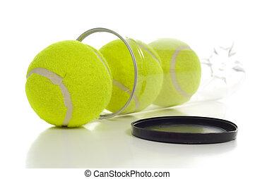 blanc, boules tennis