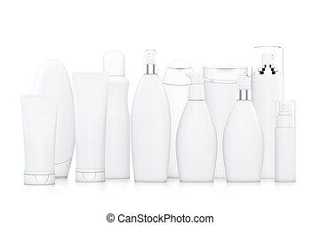blanc, bouteilles, cosmétique