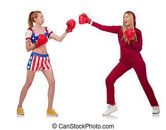 blanc, boxe, filles, deux, isolé