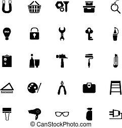 blanc, bricolage, fond, icônes