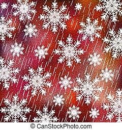 blanc, brouillé, arrière-plan rouge, arrière-plan., flocons neige, noël