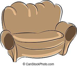 blanc, brun, arrière-plan., vecteur, sofa, illustration, vieux