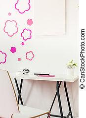 blanc, bureau, dans, adolescent, salle