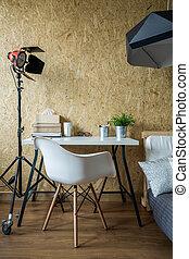blanc, bureau, et, chaise