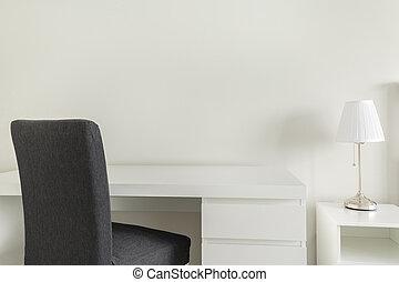 blanc, bureau, et, gris, chaise