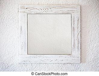 blanc, cadre, fond