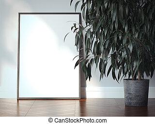 blanc, cadre graphique, dans, a, moderne, interior., 3d, rendre