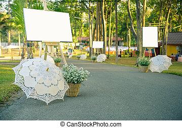blanc, cadre, photo, dans, jour mariage