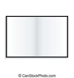 blanc, cahier, fond, icône