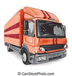 blanc, camion, arrière-plan rouge