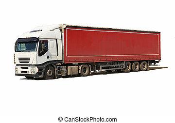 blanc, camion, caravane, rouges