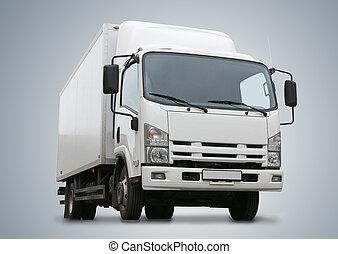 blanc, camion, il, isolé