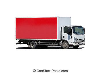 blanc, camion, isolé