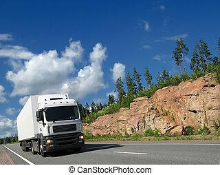 blanc, camion, rocheux, autoroute