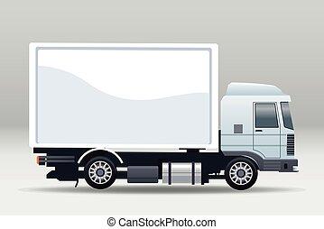 blanc, camion, véhicule, isolé, icône, voiture