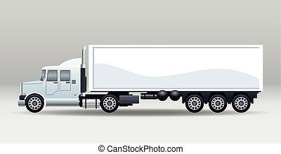 blanc, camion, véhicule, isolé, marque, voiture