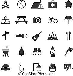 blanc, camping, fond, icônes