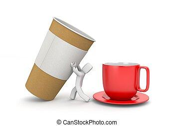 blanc, caractère, café, 3d