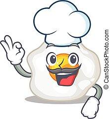blanc, caractère, chapeau, oeuf, frit, fonctionnement, chef ...