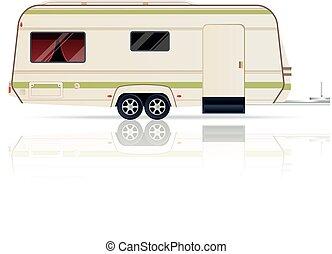 blanc, caravane, fond