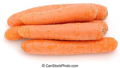 blanc, carottes, isolé, fond