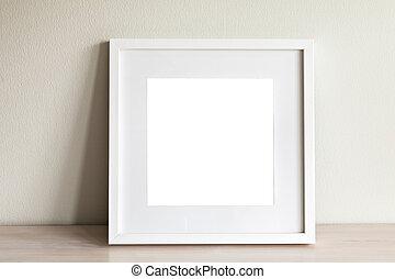 blanc, carrée, cadre, mockup