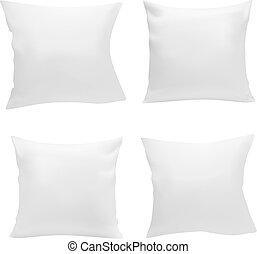blanc, carrée, ensemble, oreiller, vide