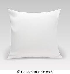 blanc, carrée, oreiller, vide